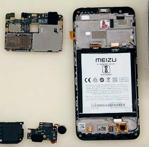 Замена стекла экрана Meizu M8c
